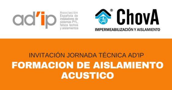 INVITACIÓN Jornada Técnica de AD'IP: Formacion De Aislamiento Acústico